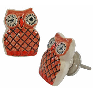 Owl Knob, Brown/Orange, Ceramic - My Country Home and Garden
