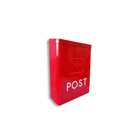 Serena Galvanized POST Mailbox Red - My Country Home and Garden