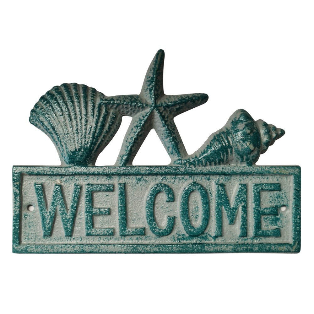 """Welcome"" Sign w/ Antique Blue Shells"