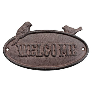 """Welcome"" Perched Birds Sign, Antique Rust"