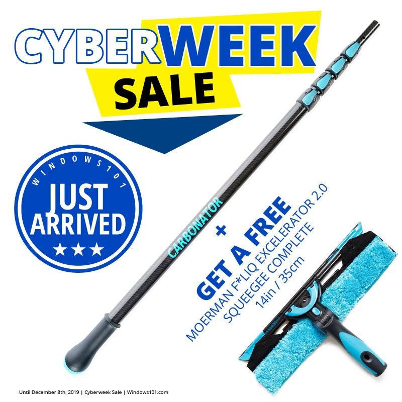 12FT MOERMAN CARBONATOR HIGH MODULUS CARBON FIBER TELESCOPIC POLE + MOERMAN F*LIQ EXCELERATOR 2.0 SQUEEGEE COMPLETE - CYBER MONDAY DEAL