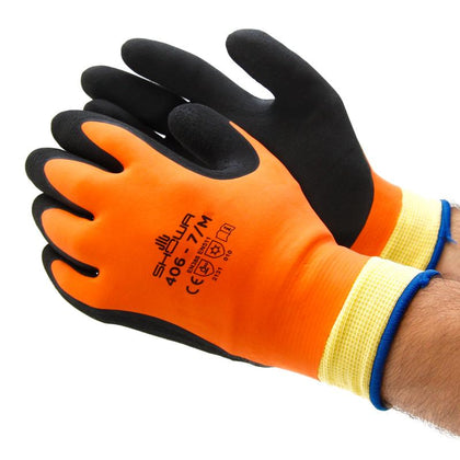 1 x 8 x 4.5 SHOWA Glove 460L-09 SHOWA Size 9 Orange Atlas 12 Seamless Yellow Acrylic Lined Double-Dipped PVC Fully Coated Cold Weather Gloves with Rough and Textured Finish and Gauntlet Cuff