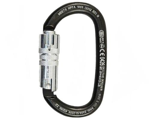 Kong Ovalone ANSI/NFPA Carbon Steel Oval Twist-Lock Black 40kN Carabiner