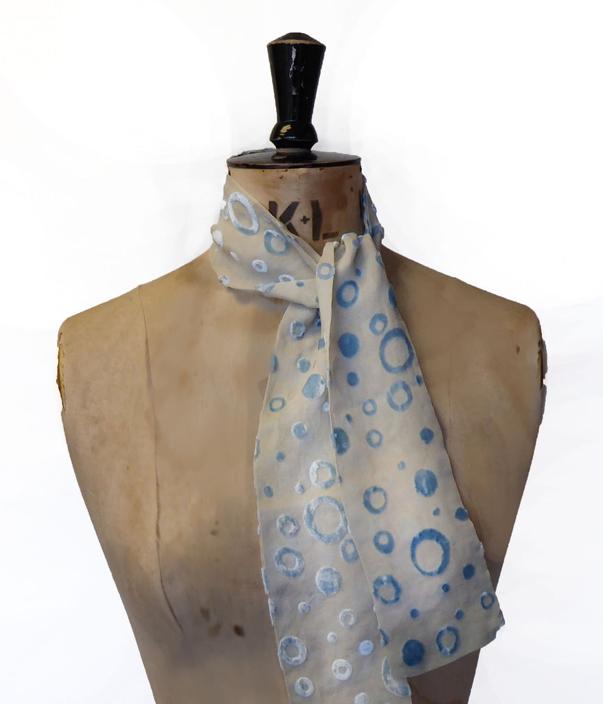 Hand-painted scarf - Bubbles 120