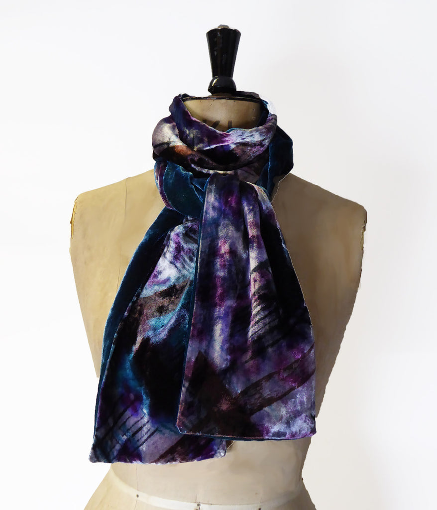 Hand-painted silk velvet scarf - Crosshatch  20