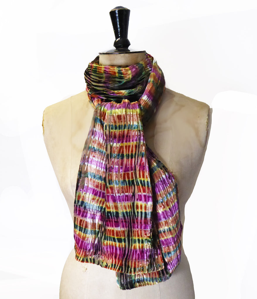 Hand-painted scarf - Golden stripes 229