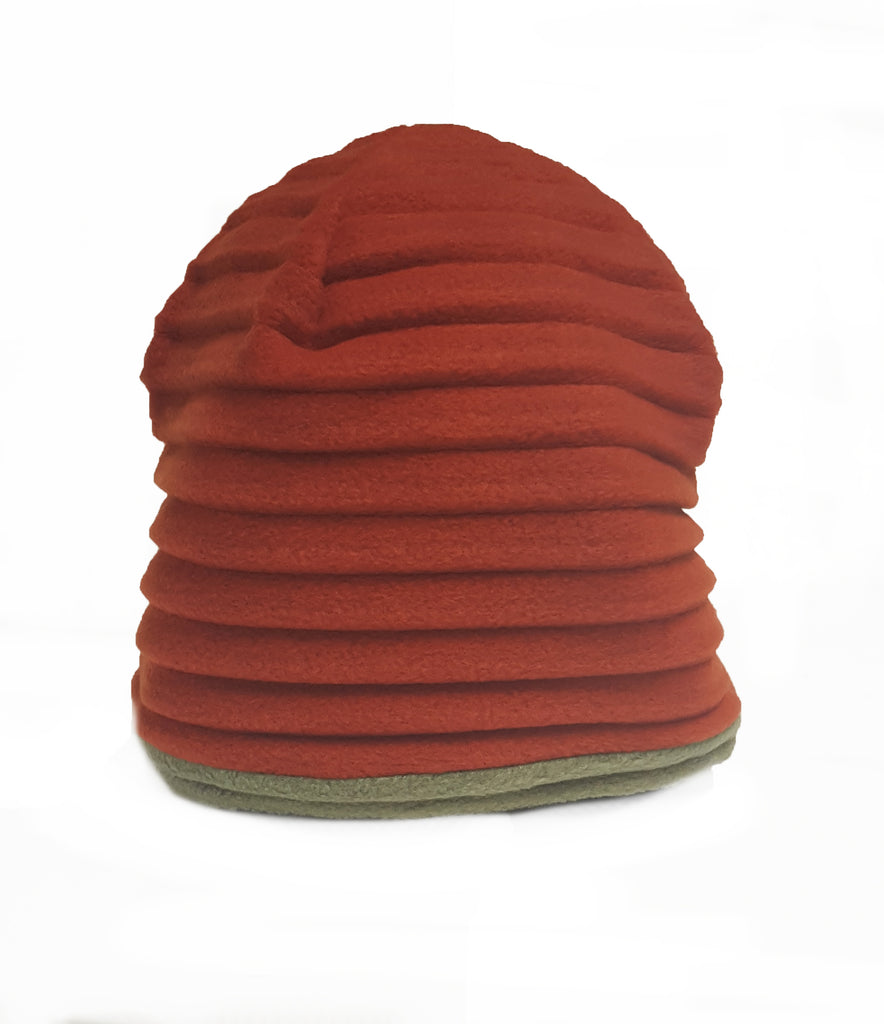 Beanie -double sided - Rust/Avocado
