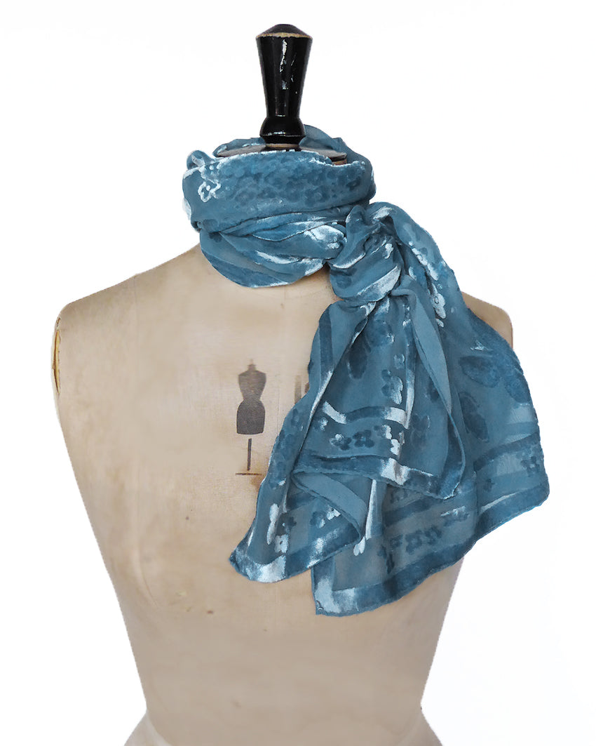 Hand-dyed scarf - Butterfly in Seafoam blue