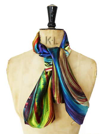 Hand-painted Silk Satin scarf - Abstract 1
