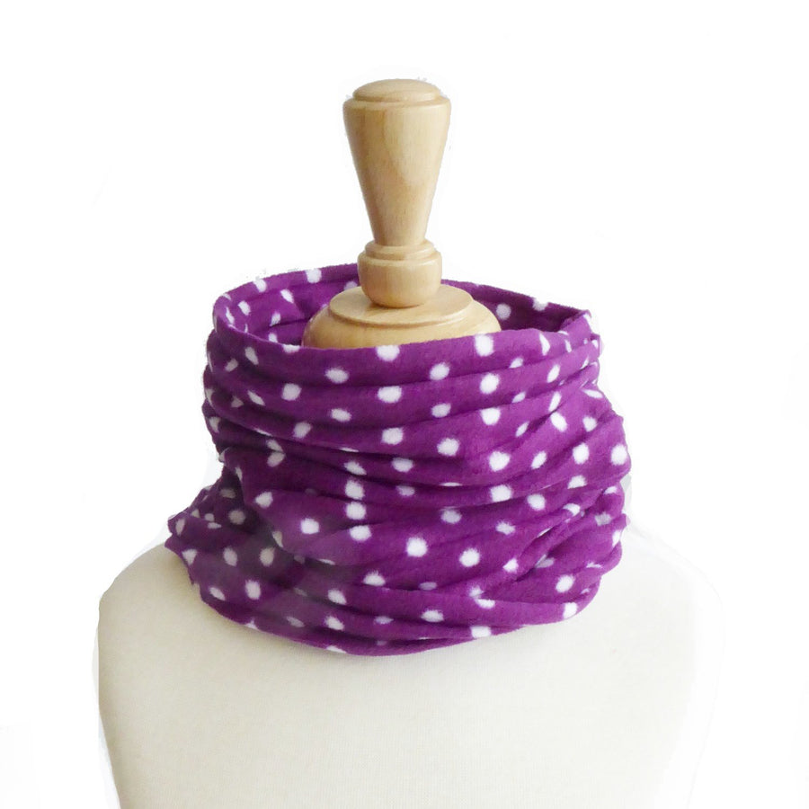 Children's Snood - Purple spotty - annafalcke.com