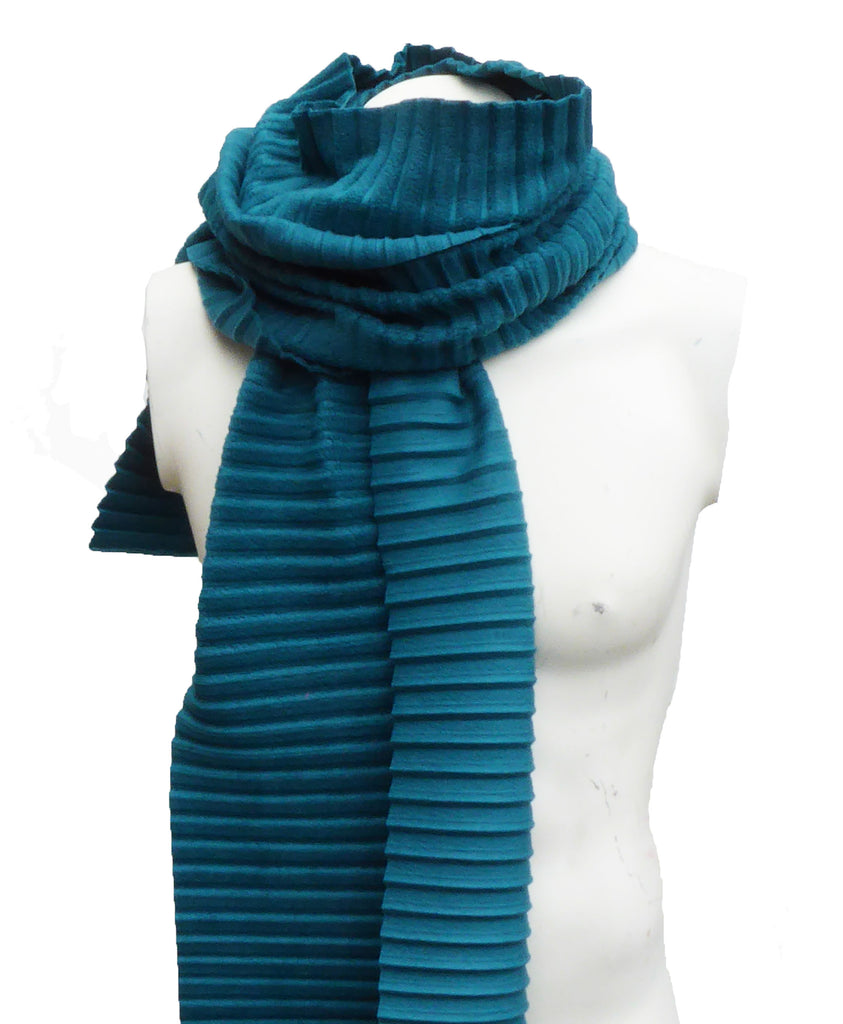 Pleated scarf - Teal - annafalcke.com