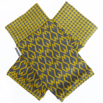 Organic Jacquard cotton wristees - Mustard