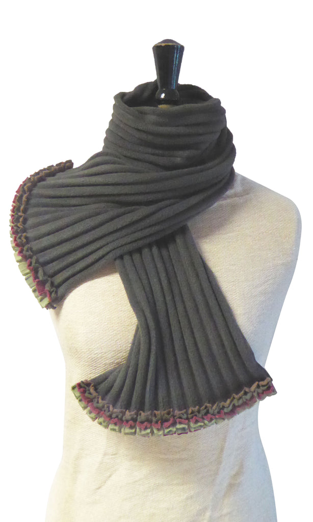 Ruffle Scarf - Charcoal/Earthy - NEW - wristies