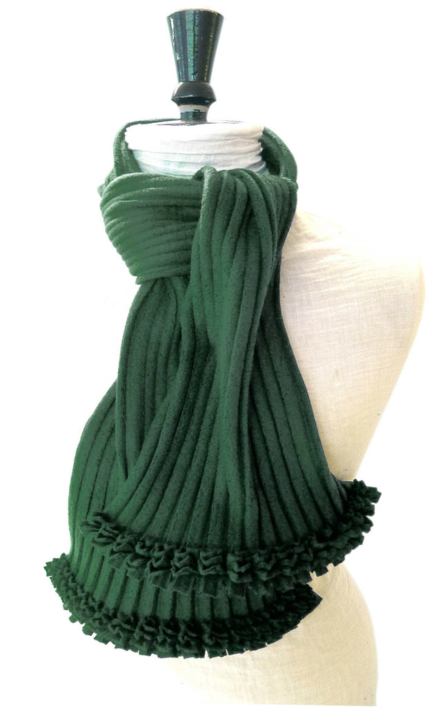 Ruffle Scarf - Bottle Green - annafalcke.com