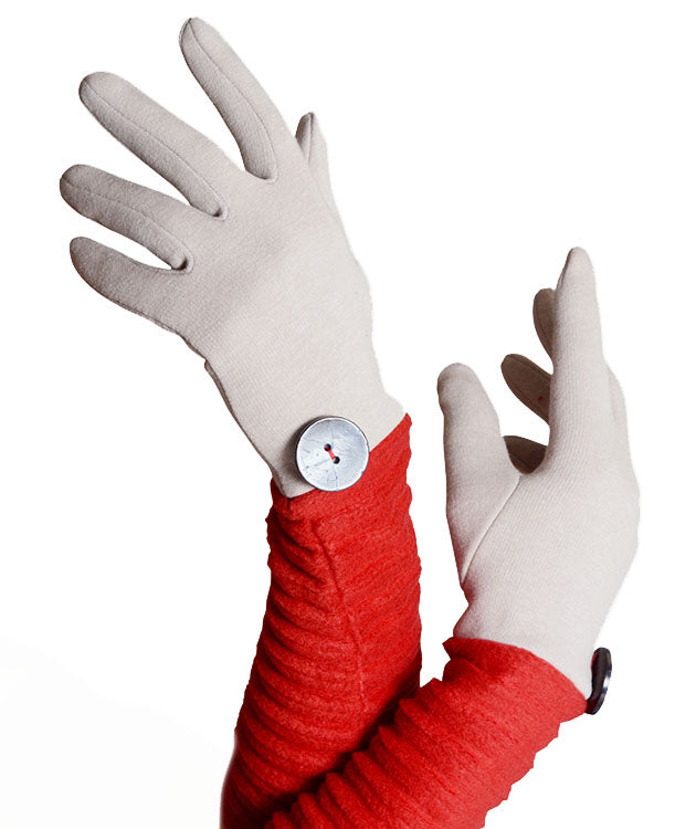 Wristee® long glove - Oatmeal/red - annafalcke.com