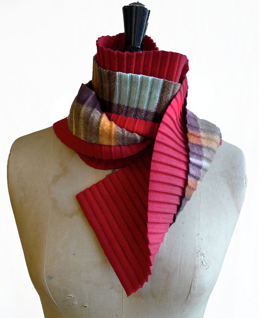 Zigzag scarf - Red/brown check