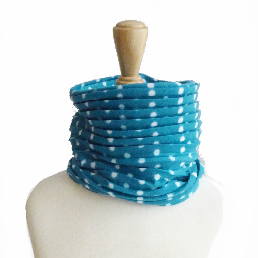 Children's Snood - Teal spotty - wristies