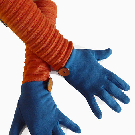 Wristee® long glove - Teal/rust - annafalcke.com