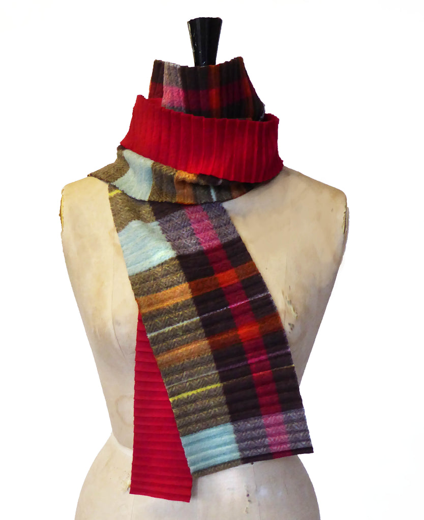 Zigzag scarf - Brown check/red