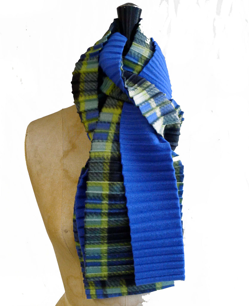 Zigzag scarf - Blue check