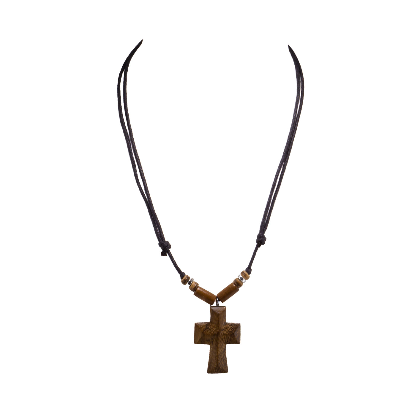Wood Cross Pendant on Adjustable Rope Necklace