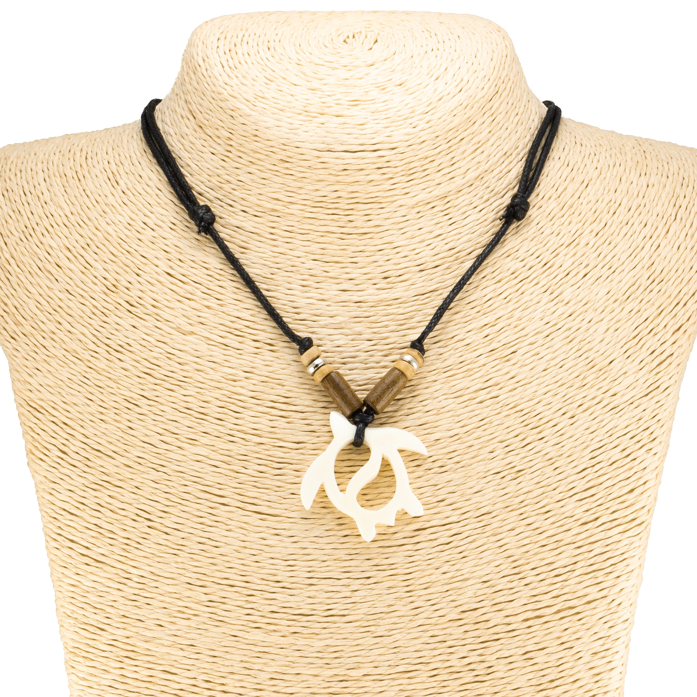 Bone Sea Turtle Pendant on Adjustable Rope Necklace