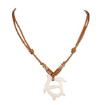 Load image into Gallery viewer, Bone Sea Turtle Pendant on Adjustable Rope Necklace