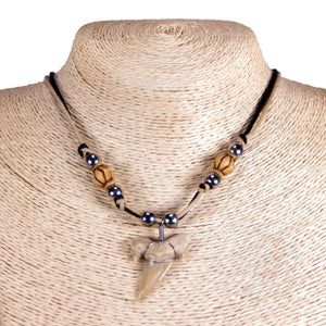 "1¼""+ Shark Tooth Pendant on Double Cord Necklace with Tribal Beads"