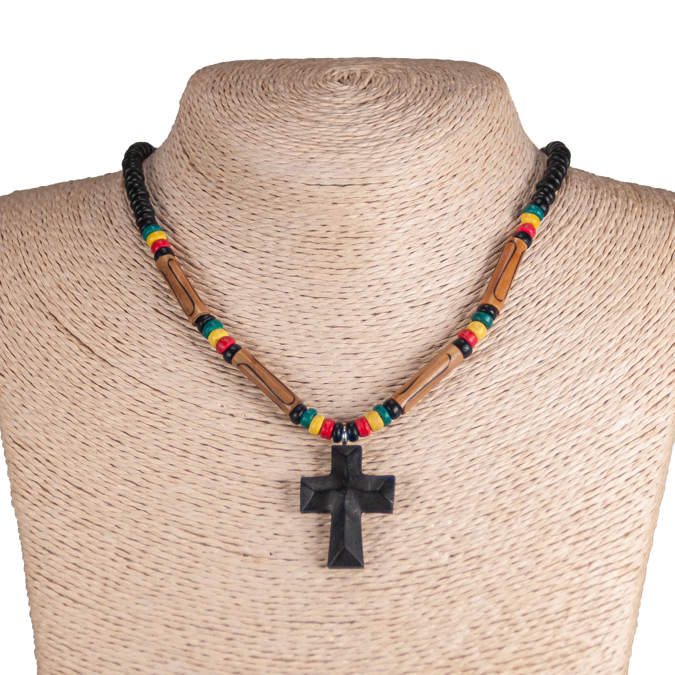 Wood Cross Pendant on Rasta Coconut & Puka  Shell Beads Necklace