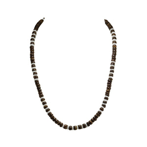 Brown Coconut and Puka Shell Beads Necklace