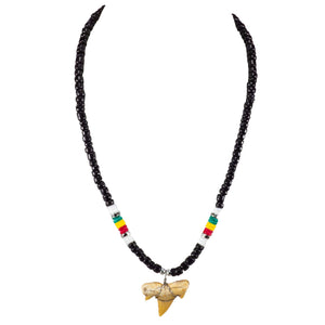 "1""+ Shark Tooth Pendant on Black Coconut Beads and Rasta Puka Shell Beads Necklace"