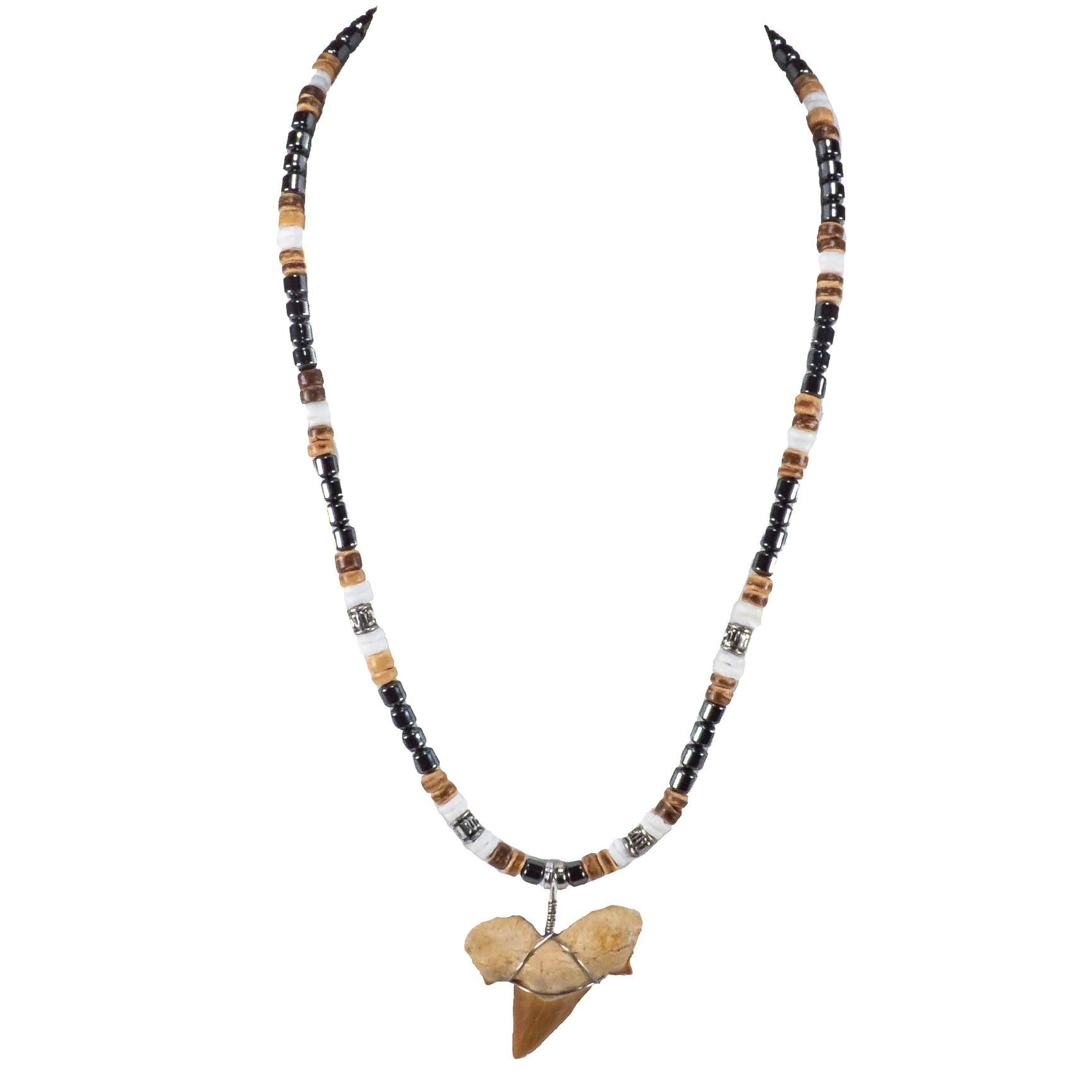 "1¼""+ Shark Tooth Pendant on Hematite, Coconut & Puka Shell Beads Necklace"