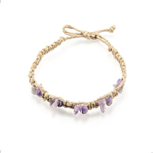 Amethyst Gemstone Chips on Hemp Anklet Bracelet