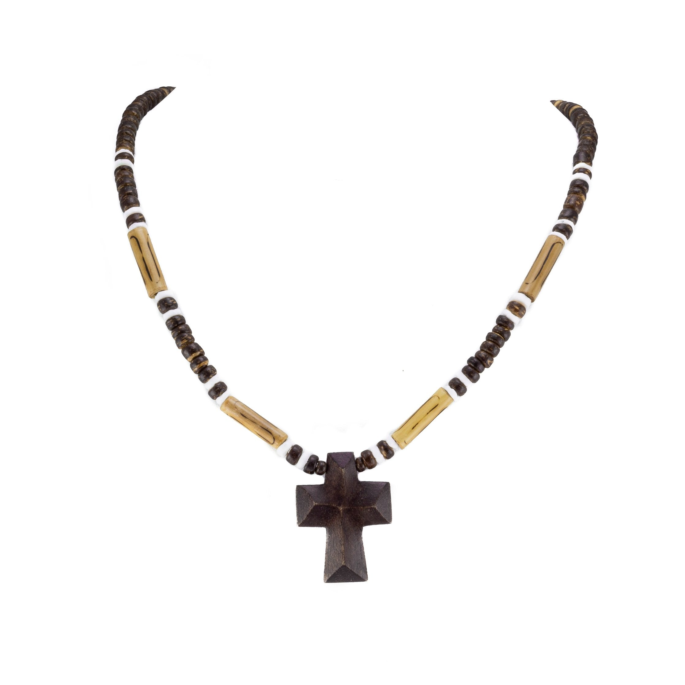 Wood Cross Pendant on Brown Coconut and Puka Shell Beads Necklace