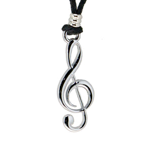 Treble Clef Pendant on Adjustable Rope Necklace