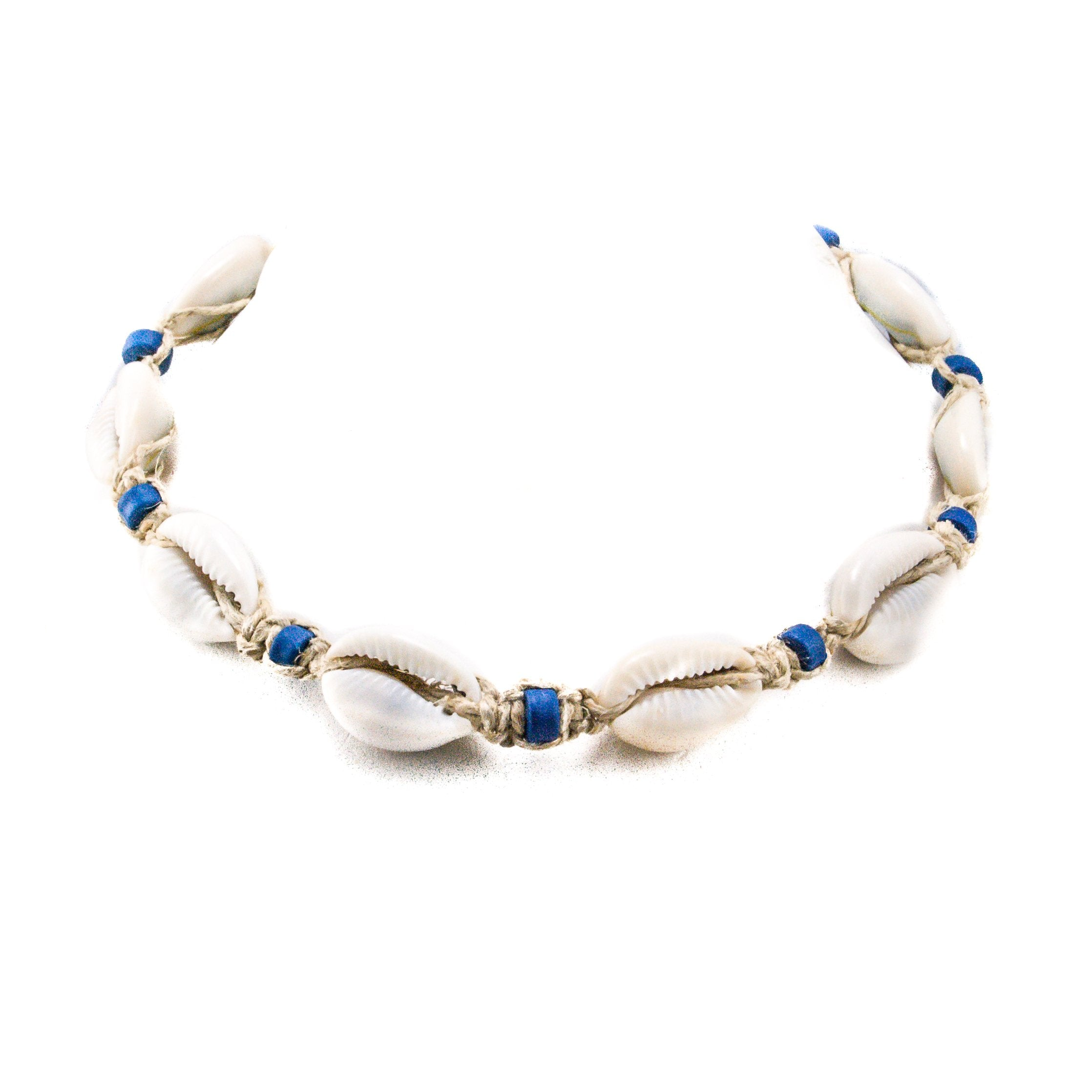 Hemp Choker Necklace with Cowrie Shells and Blue Fimo Beads