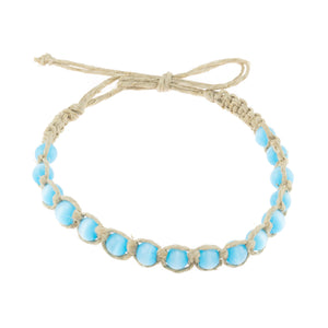 Turquoise Blue Cat's Eye Beads (7mm) on Hemp Anklet Bracelet