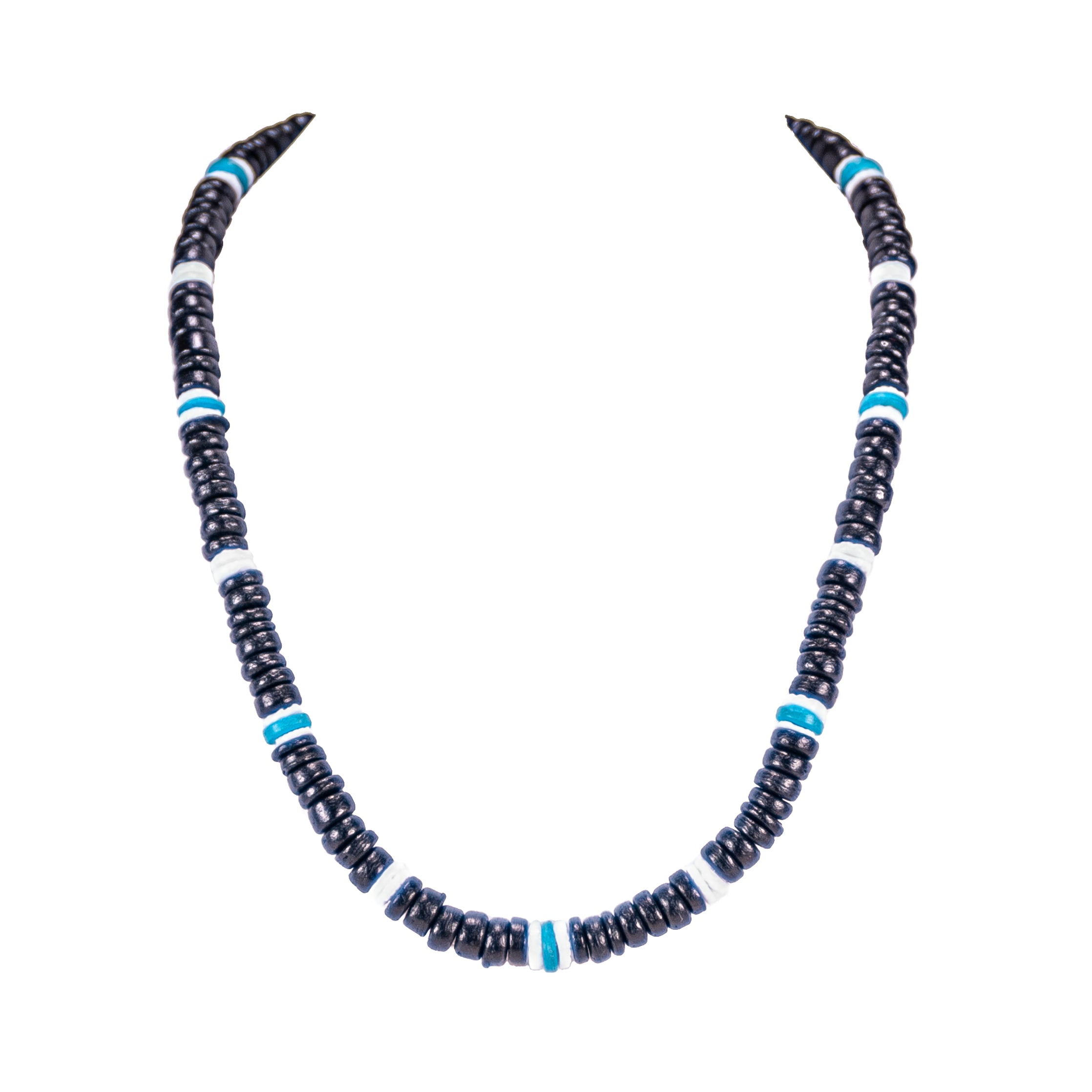 Black & Blue Coconut Beads and Puka Shell Beads Necklace & Bracelet Set