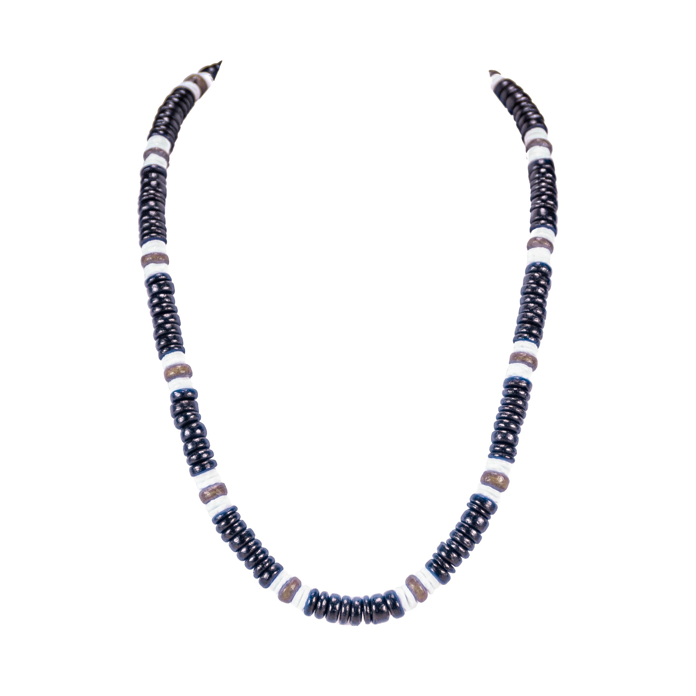 Black & Olive Coconut Beads and Puka Shell Beads Necklace & Bracelet Set