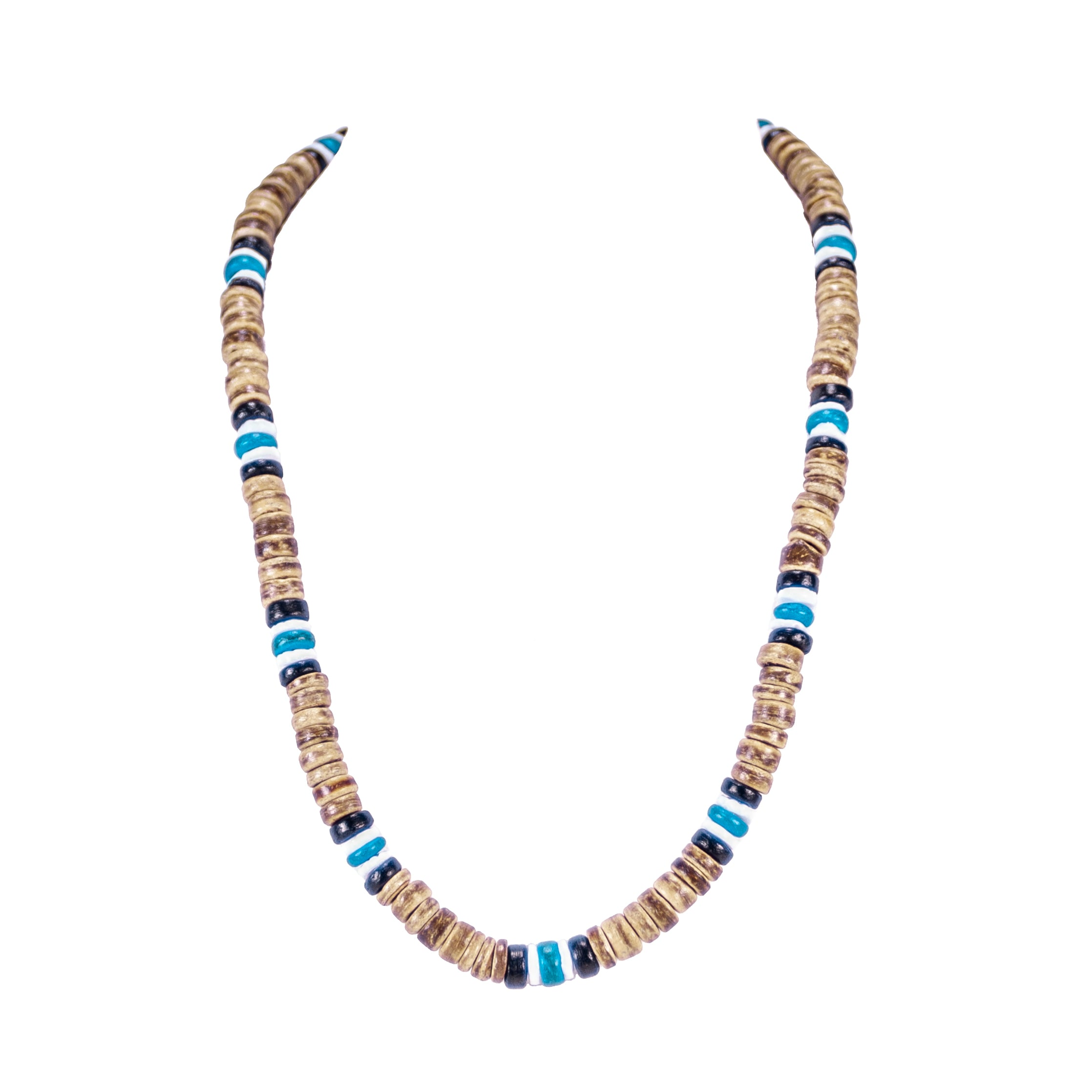 Tiger Brown & Blue Coconut Beads and Puka Shell Beads Necklace & Bracelet Set