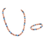 Load image into Gallery viewer, Tiger Brown & Blue Coconut Beads and Puka Shell Beads Necklace & Bracelet Set