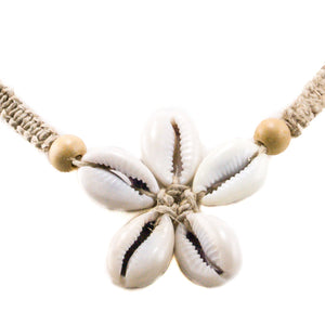 Cowrie Shells Flower Pendant on Hemp Choker Necklace