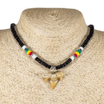 "Load image into Gallery viewer, 1""+ Shark Tooth Pendant on Black Coconut Beads and Rasta Puka Shell Beads Necklace"
