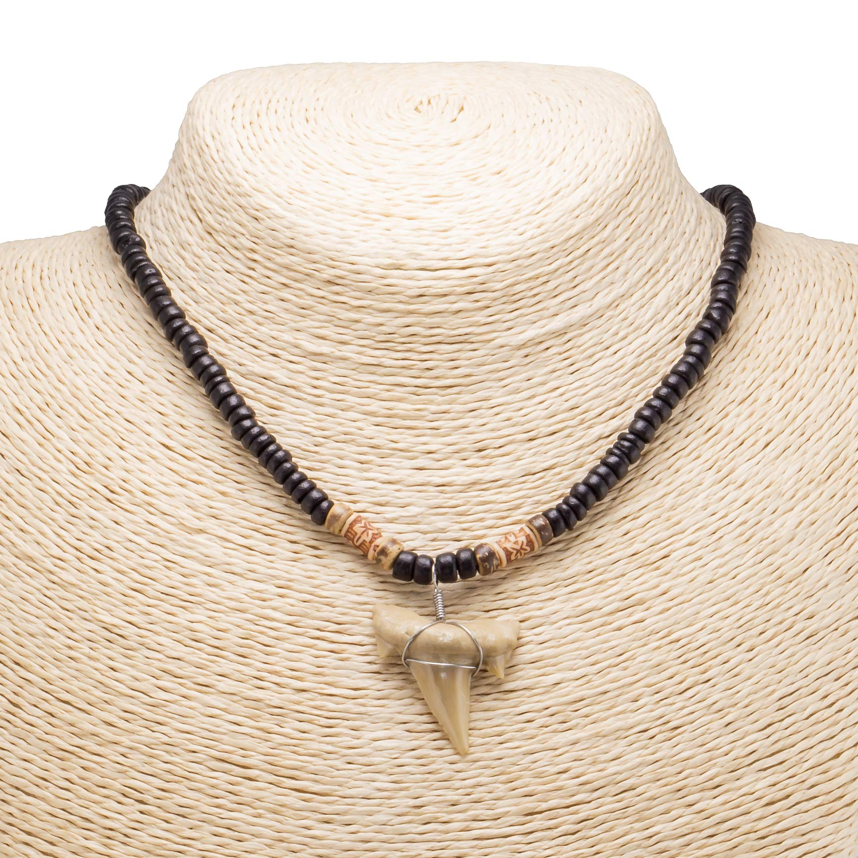 "1""+ Shark Tooth Pendant on Black Coconut Beads Necklace"
