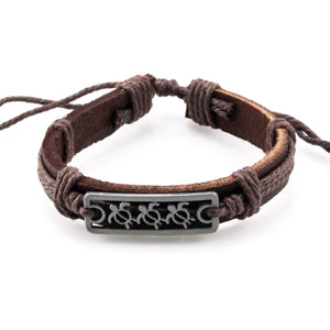 Sea Turtles Bar on Adjustable Leather and Cord Bracelet