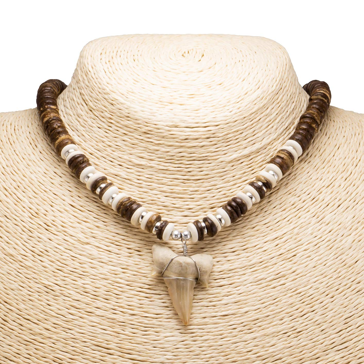 "1¼""+ Shark Tooth Pendant on Brown Coconut Beads Necklace"