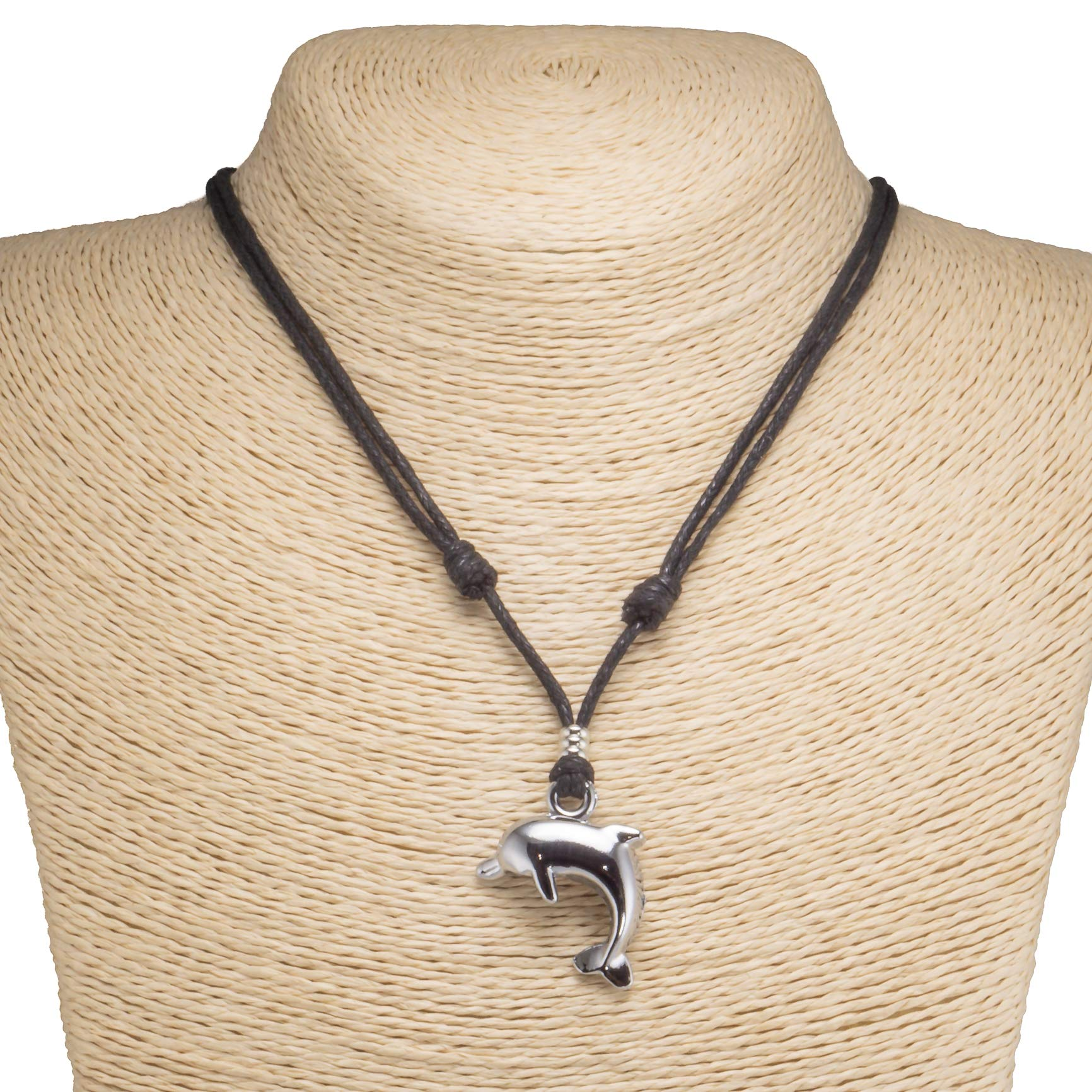 Dolphin Pendant on Adjustable Rope Necklace
