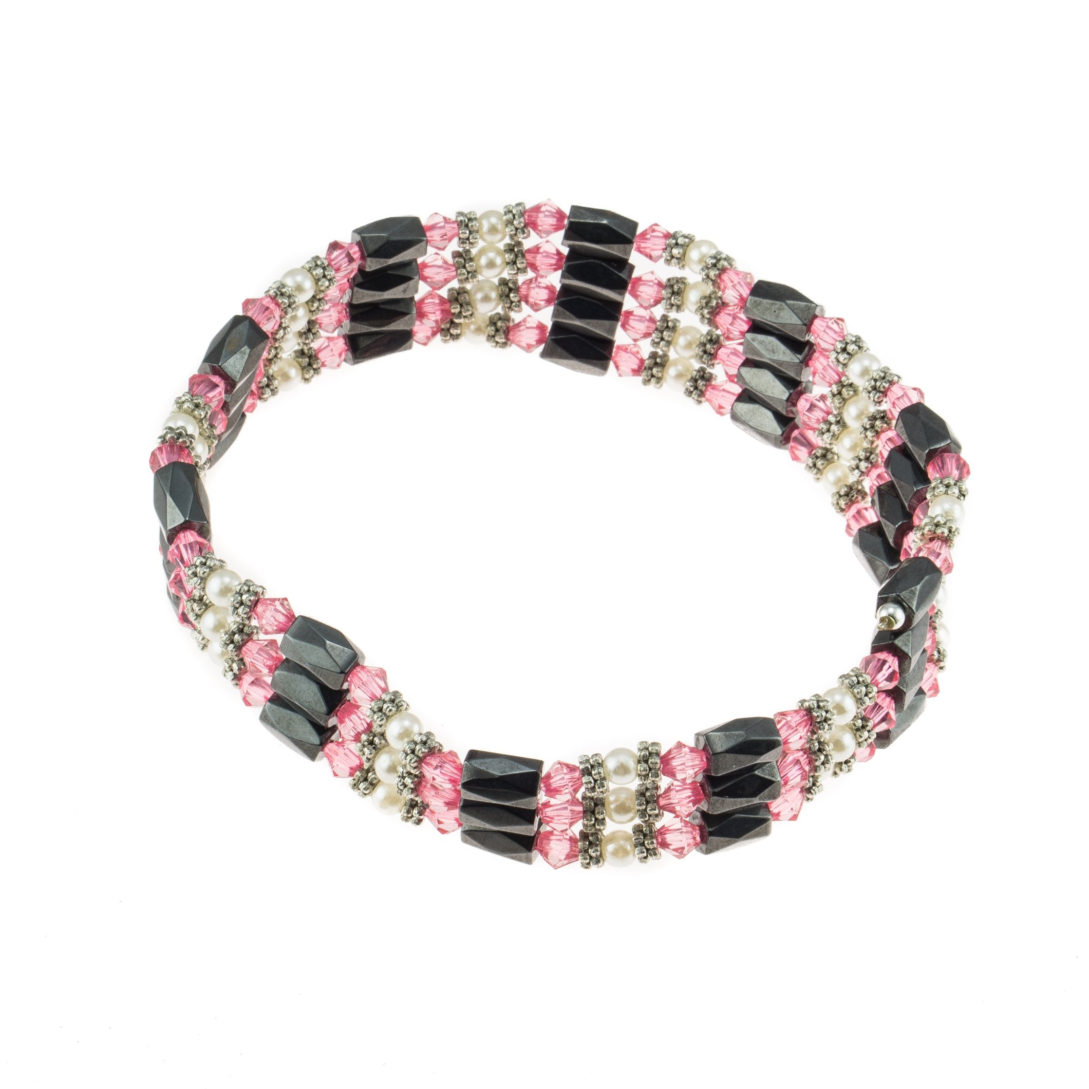 Magnetic Hematite Beaded Wrap Bracelet, Anklet or Necklace with Genuine Fresh Water Pearls (Pink)