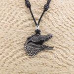 Load image into Gallery viewer, Alligator Head Pendant on Adjustable Rope Necklace