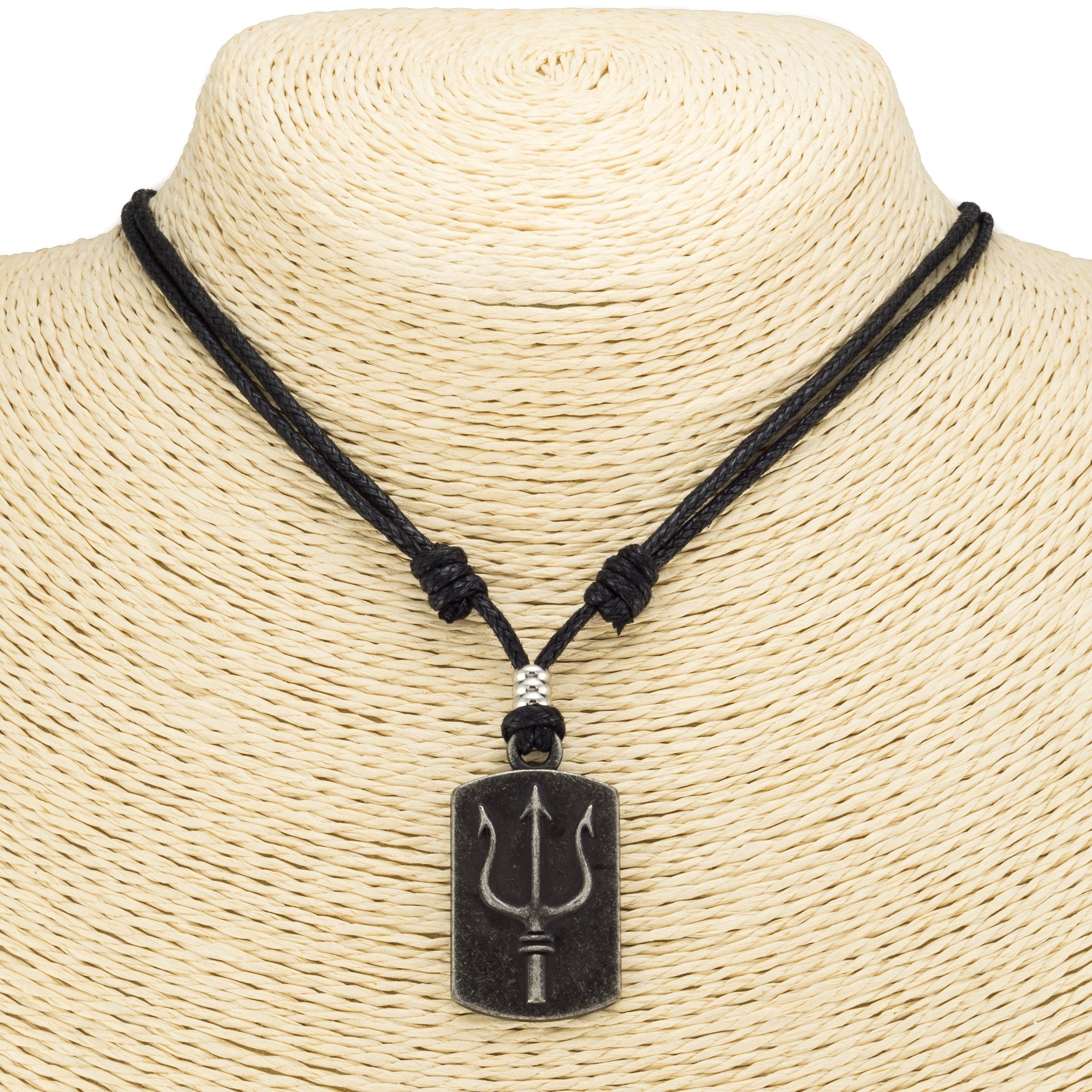 Trident Dog-tag Pendant on Adjustable Rope Necklace